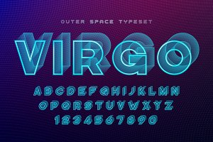 Virgo futuristic vector decorative font design, alphabet