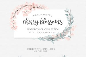 Watercolor Cherry Blossom Wreaths