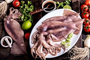 Raw squid calamary on white plate with ingredients for cooking korean BBQ squid. Top view
