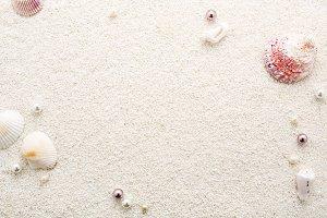 Summer frame of seashells & pearls