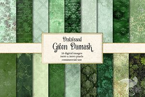 Distressed Green Damask Textures
