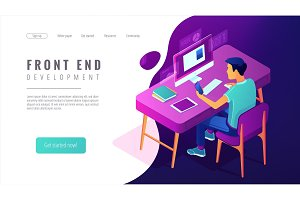 Isometric front end development landing page concept.