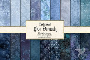 Blue Distressed Damask Textures
