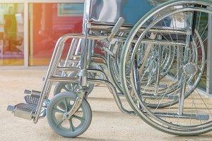 Empty wheelchair parked