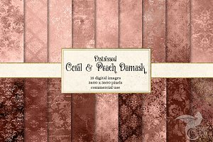Coral & Peach Distressed Textures