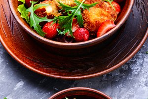 Salad with strawberry and fried chee