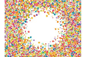 Celebrate pattern background of colored confetti and serpentine.
