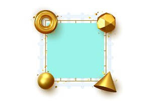 Frame with 3d geometric golden elements with place for text. Art minimal design.