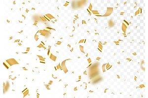 Falling shiny golden confetti isolated on transparent background.