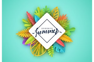 Tropic summer background, palm leaf, paper flower.