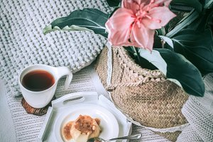 cozy homely breakfast in bed