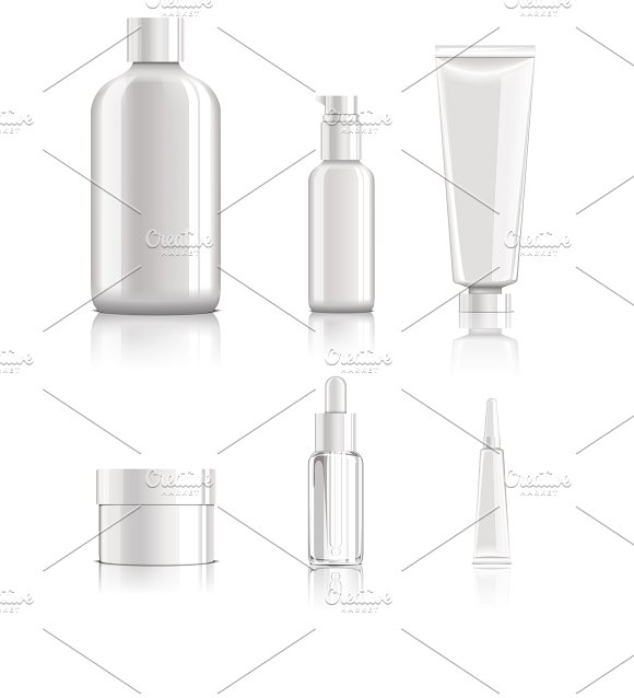 Realistic Cosmetic Packages Set