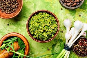 Delicious basil pesto sauce