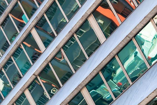 Glass Building Facade with Street