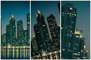Night cityscape of Dubai city,