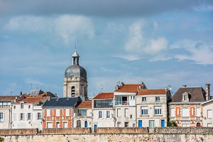 Houses along the sea in La Rochelle