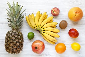 Set of various exotic fruits