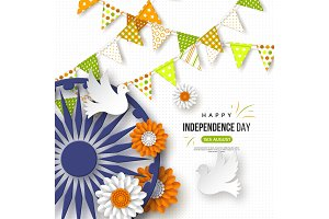 Indian Independence day holiday background. Bunting flags, flower in traditional tricolor of indian flag, 3d wheel with shadow, doves, dotted pattern, vector illustration.