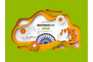 Indian Independence day holiday background. Paper cut shapes with shadow, doves, flowers, 3d wheel in traditional tricolor of indian flag. Greeting text, vector illustration.