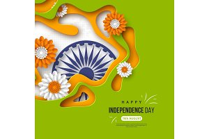 Indian Independence day holiday background. Paper cut shapes with shadow, flowers, 3d wheel in traditional tricolor of indian flag. Greeting text, vector illustration.
