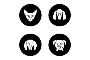 Dogs breeds glyph icons set