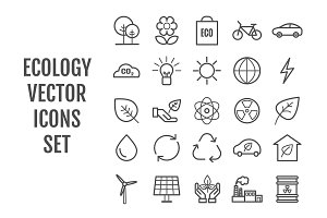 25 vector line ecology icons