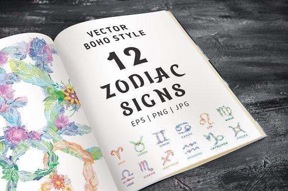 Boho Zodiac Signs Vector