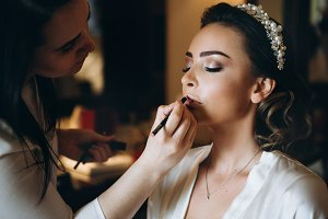 Bride's make-up on wedding day