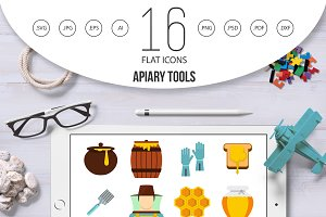 Apiary tools set flat icons