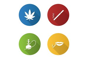 Smoking flat design long shadow glyph icons set
