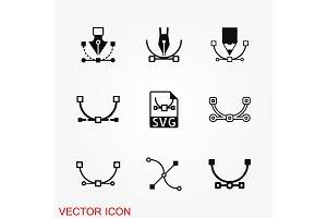 Pen tool icon vector