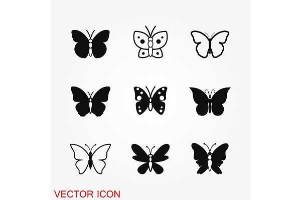 butterfly icon vector pre designed vector graphics creative market butterfly icon vector