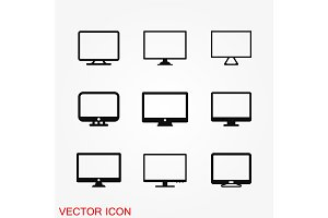 Monitor icon vector