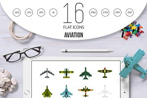 Aviation icons set, flat style