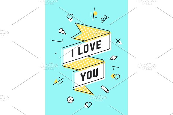 I Love You. Vintage ribbon banner