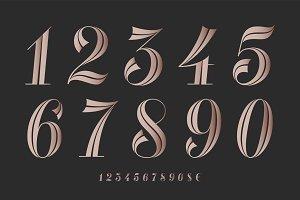 Numbers font. Classical elegant font