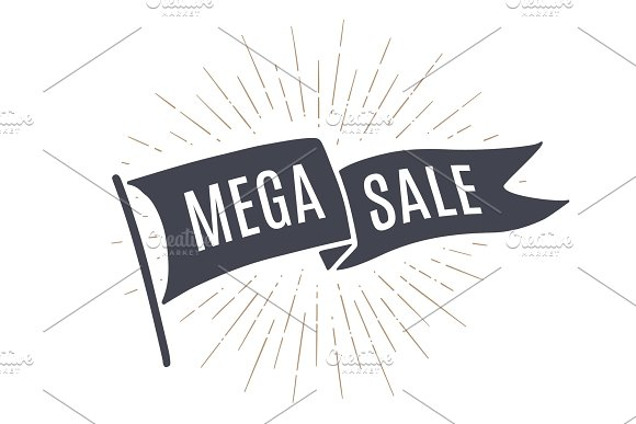 Flag Mega Sale. Old school flag banner in Illustrations