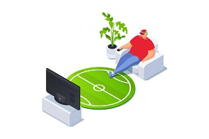 Isometric football fan watching TV.