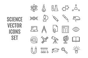 25 vector line science icons