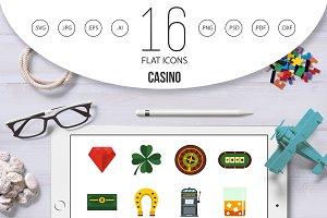 Casino set flat icons