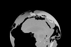 Planet earth map symbol on black background, Internet concept of global business, 3d illustration