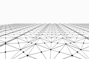 Digital data and black network connection triangle lines for technology concept on white background, 3d abstract illustration