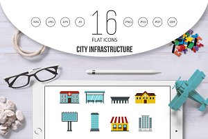 City infrastructure items set flat