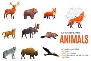 Polygonal Animals Set
