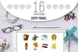 Egypt travel items icons set in flat