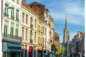 Traditional buildings in the old town on Lille, France