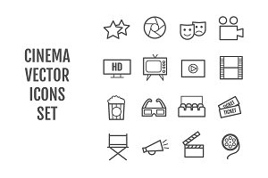 Set of 16 vector line cinema icons