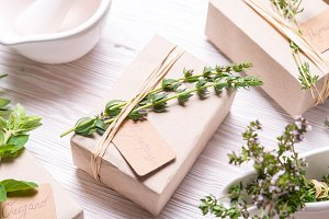 Fresh herbs and spices with gift box