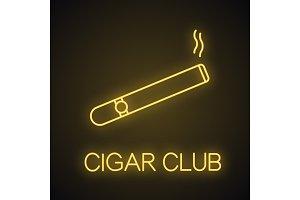 Burning cigar neon light  icon