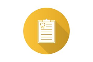 Teeth diagnostic report flat design long shadow glyph icon